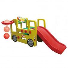 Inlea4Fun autóbusz kerti játszótér csúszdával és játék műszerfallal 152 cm Előnézet