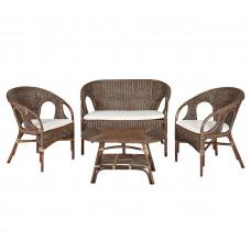 AGA URSUS rattan kerti bútor szett - csokibarna/fehér Előnézet