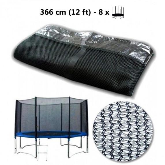 AGA védőháló 366 cm átmérőjű trambulinhoz 8 rudas - Fekete