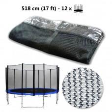Külső védőháló 518 cm átmérőjű trambulinhoz 12 rudas AGA - Fekete Előnézet