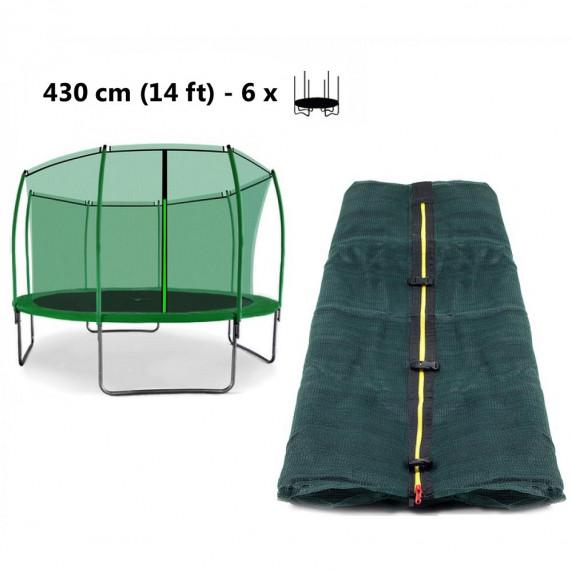 Belső védőháló 430 cm átmérőjű trambulinhoz 6 rudas - felső köríves AGA - Sötét zöld