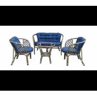 Lex BAHAMA rattan kertibútor szett - szürke/kék
