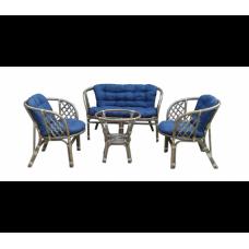 Lex BAHAMA rattan kertibútor szett - szürke/kék Előnézet