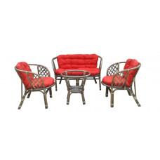 Lex BAHAMA rattan kertibútor szett - szürke/piros Előnézet