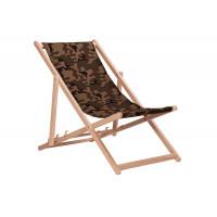 Összecsukható fa napozóágy AGA - terepszínű barna