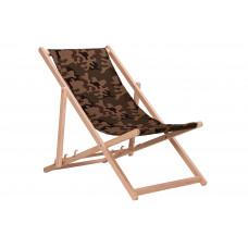 Összecsukható fa napozóágy AGA - terepszínű barna Előnézet