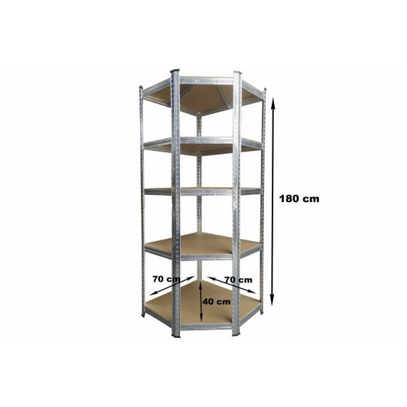 Sarok tároló polc 180x70x40 cm 5 polc Kynast