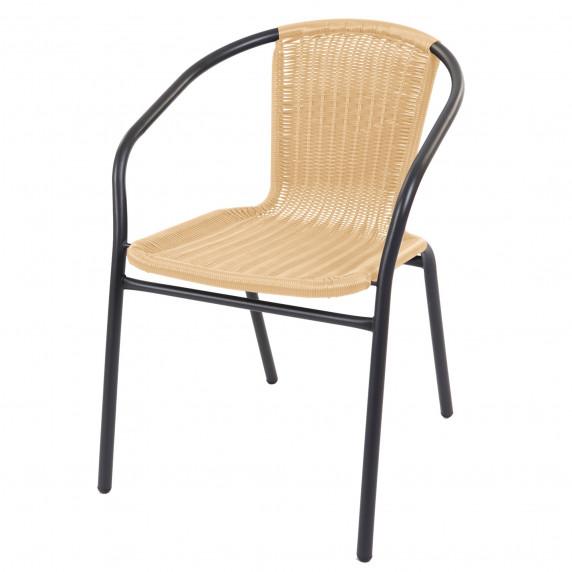 Fém kerti szék rattan szövésű szék Linder Exclusiv MC4606 - szürke/bézs