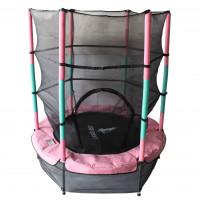Aga gyerek trambulin védőhálóval 140 cm - Rózsaszín