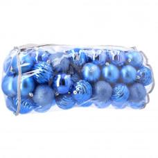 Inlea4Fun karácsonyi gömbök 80 db 8 cm - kék Előnézet