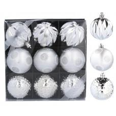 Inlea4Fun Karácsonyfa dísz szett 9 darab gömb 6 cm - Ezüst Előnézet