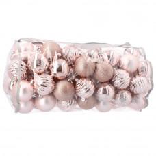 Inlea4Fun karácsonyi gömbök 80 db 8 cm - rózsaszín Előnézet