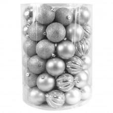 Inlea4Fun Karácsonyi gömbök 60 db 8 cm - ezüst Előnézet