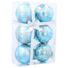 Karácsonyfa dísz szett 6 darab gömb 7 cm Inlea4Fun - Kék/fenyőfa-csillag Előnézet