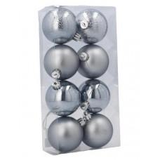 Inlea4Fun Karácsonyfa dísz szett 8 darab gömb 6 cm - ezüst Előnézet