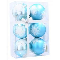 Karácsonyfa dísz szett 6 darab gömb 7 cm Inlea4Fun - Kék/Csillag Előnézet