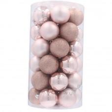 Inlea4Fun Karácsonyfa dísz szett 41 darab gömb 6 cm - Rózsaszín Előnézet