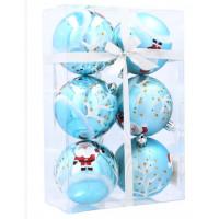 Inlea4Fun Karácsonyfa dísz szett 6 darab gömb 7 cm - Kék/Mikulás