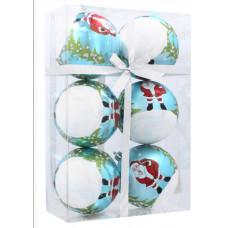 Karácsonyfa dísz szett 6 darab gömb 8 cm Inlea4Fun - Fehér-Kék/Mikulás Előnézet