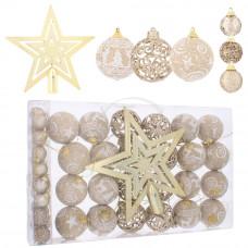 Inlea4Fun Karácsonyfa dísz szett 40 darab 6 cm/2,5 cm - Barna Előnézet