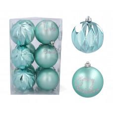 Karácsonyfa dísz szett 12 darab gömb 8 cm Inlea4Fun - Menta Előnézet