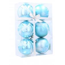 Karácsonyfa dísz szett 6 darab gömb 7 cm Inlea4Fun - Kék/Rénszarvasos Előnézet