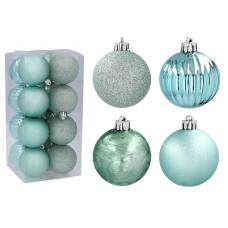 Karácsonyfa dísz szett 16 darab 5 cm Inlea4Fun - Menta Előnézet