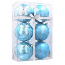 Karácsonyfa dísz szett 6 darab gömb 8 cm Inlea4Fun  - Fehér-Kék/Hópehely Előnézet