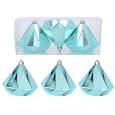 Karácsonyfa dísz szett 3 darab gyémánt alakú dísz 10 cm Inlea4Fun - Menta Előnézet