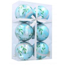Inlea4Fun Karácsonyfa dísz szett 6 darab gömb 8 cm - Kék/Fenyőág Előnézet
