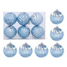 Karácsonyfa dísz szett 6 darab gömb 8 cm Inlea4Fun - Kék Előnézet