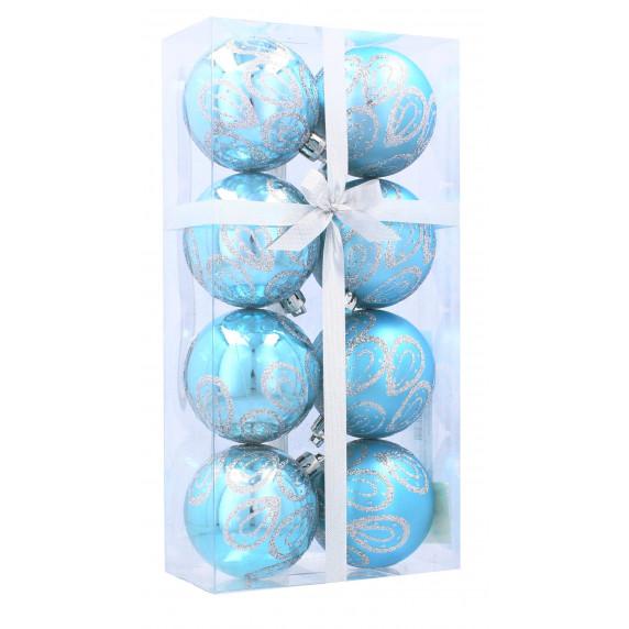 Inlea4Fun Karácsonyfa dísz szett 8 darab gömb 6 cm - Kék/vízcsepp