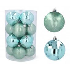 Karácsonyfa dísz szett 16 darab gömb 8 cm Inlea4Fun - Menta Előnézet