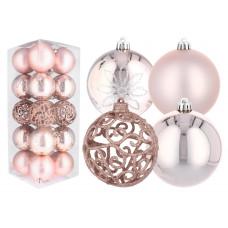 Inlea4Fun Karácsonyfa dísz szett 20 darab gömb 8 cm - Rózsaszín Előnézet