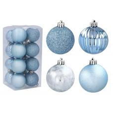 Karácsonyfa dísz szett 16 darab 5 cm Inlea4Fun - Kék Előnézet