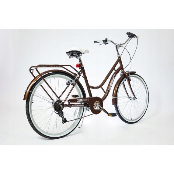 """Hellobikes RETRO 7 Speed női kerékpár 26"""" - Barna"""