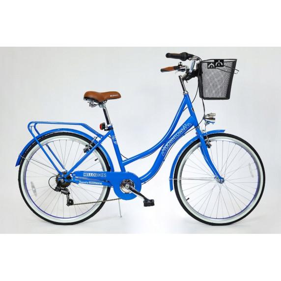 """Hellobikes DOWNTOWN 7 Speed női kerékpár 26"""" - Kék"""
