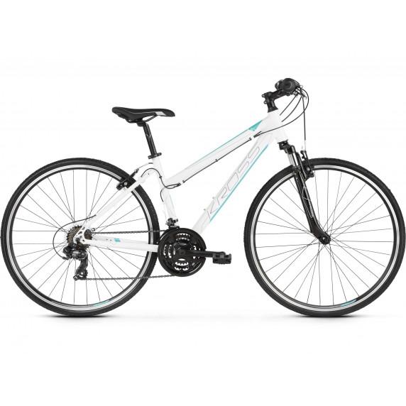 """KROSS Kerékpár EVADO 1.0 17"""" DM 2021 - fényes fehér / türkiz"""