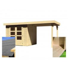 Fa kerti tároló ház kocsibeállóval  240 cm KARIBU ASKOLA 3 (14441) SET Előnézet