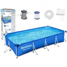 Medence papírszűrős vízforgatóval 400x211x81 cm BESTWAY 56424 Steel Pro Előnézet